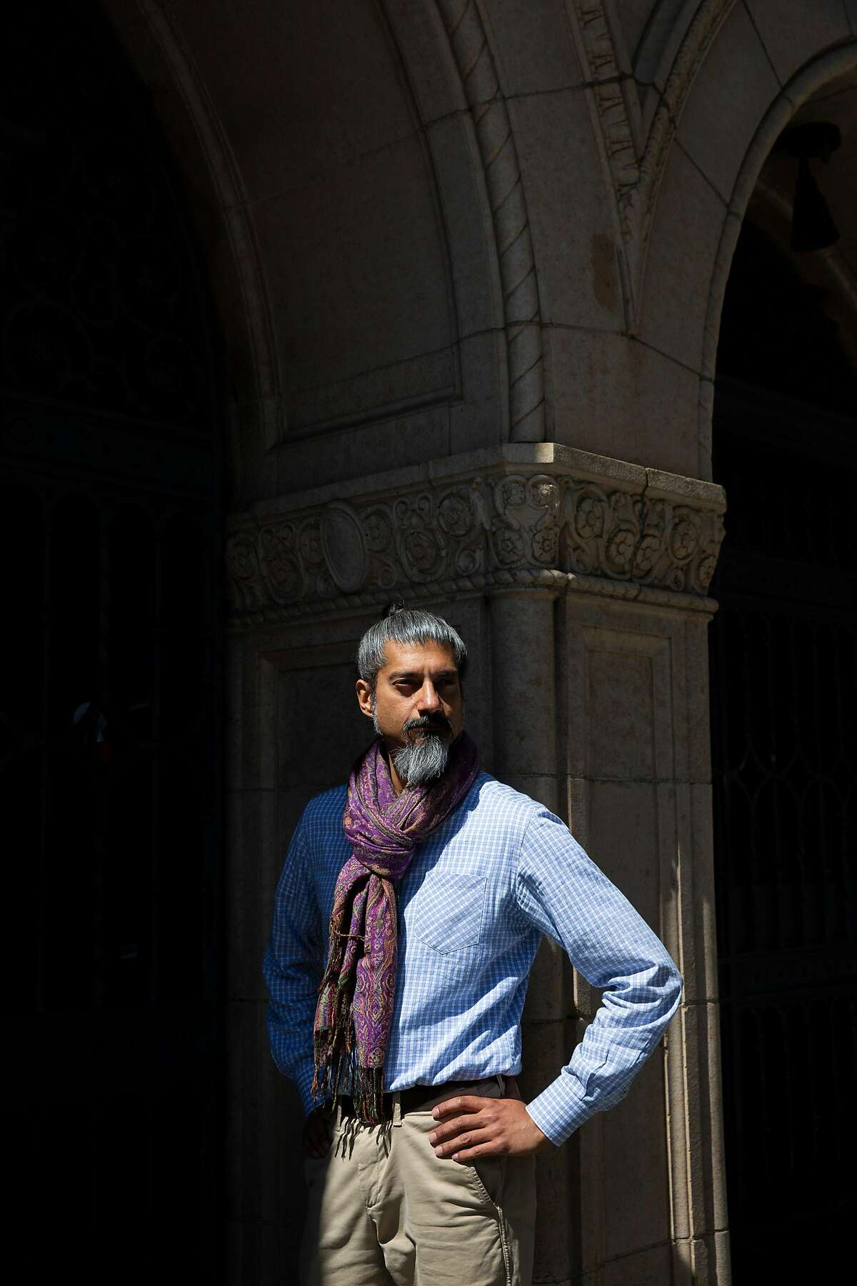 A portrait of Shahid Buttar on Wednesday, April 1, 2020, in San Francisco, Calif. Buttar is running for election to the U.S. House to represent California's 12th Congressional District.