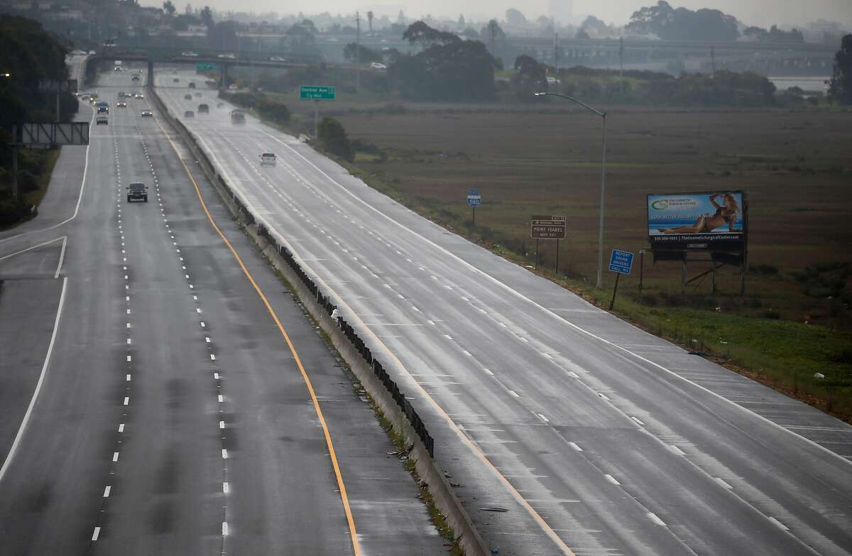 Traffic lanes are light on Interstate 580 in Richmond, Calif. on Saturday, March 28, 2020. Air quality has improved significantly as fewer vehicles are on the streets and highways while shelter in place orders remain in effect during the coronavirus pandemic.