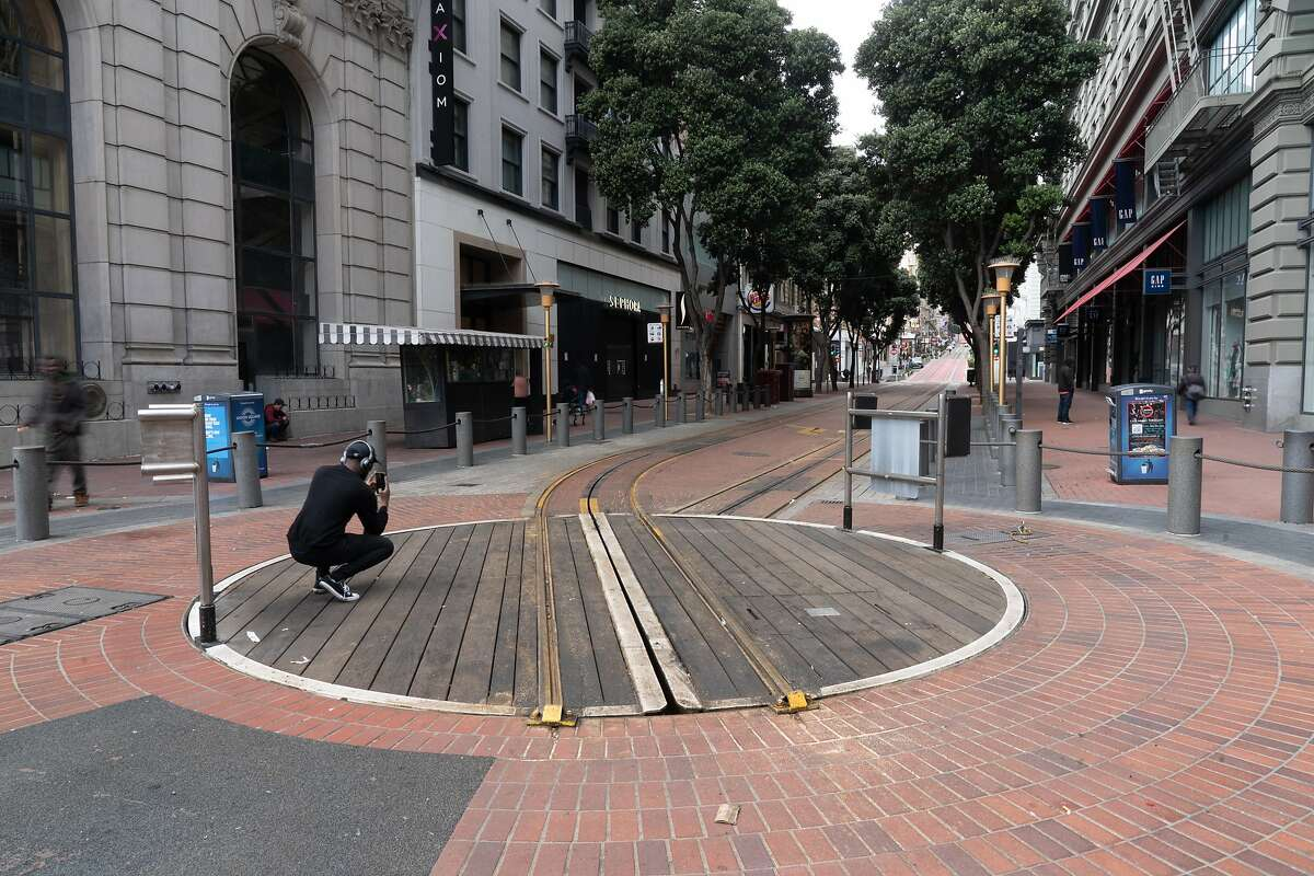 Powell St. Cable Car Turnaround on Thursday, March 19, 2020, in San Francisco, Calif.