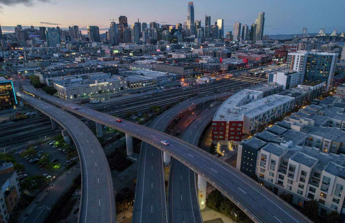 The San Francisco skyline visible from above Highway 280 as it splits to Sixth Street and King Streets with crisp visibility thanks to the lack of cars in San Francisco, Calif., on March 30.