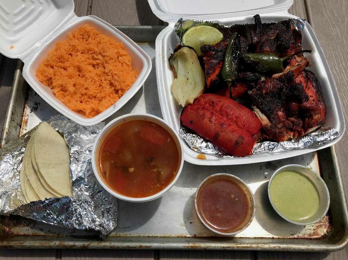 Pollos Asados de Sinaloa: The family meal includes a whole chicken, sausage, rice, beans, tortillas and salsa for $17. Location: 6020 S. Flores St., 210-370-2591, walk-up only, 11 a.m. to 9 p.m. daily, Facebook: Pollos Asados de Sinaloa.
