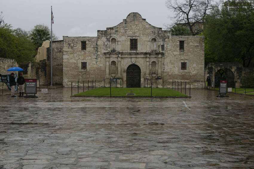 An empty Alamo Plaza on March 20, 2020.