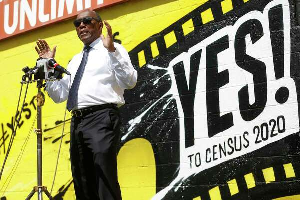 Houston Mayor Sylvester Turner talks to the media about the 2020 Census in front of a mural by Sebastien Boileau, aka MrD1986 in the Montrose neighborhood of Houston on Wednesday, April 1, 2020.