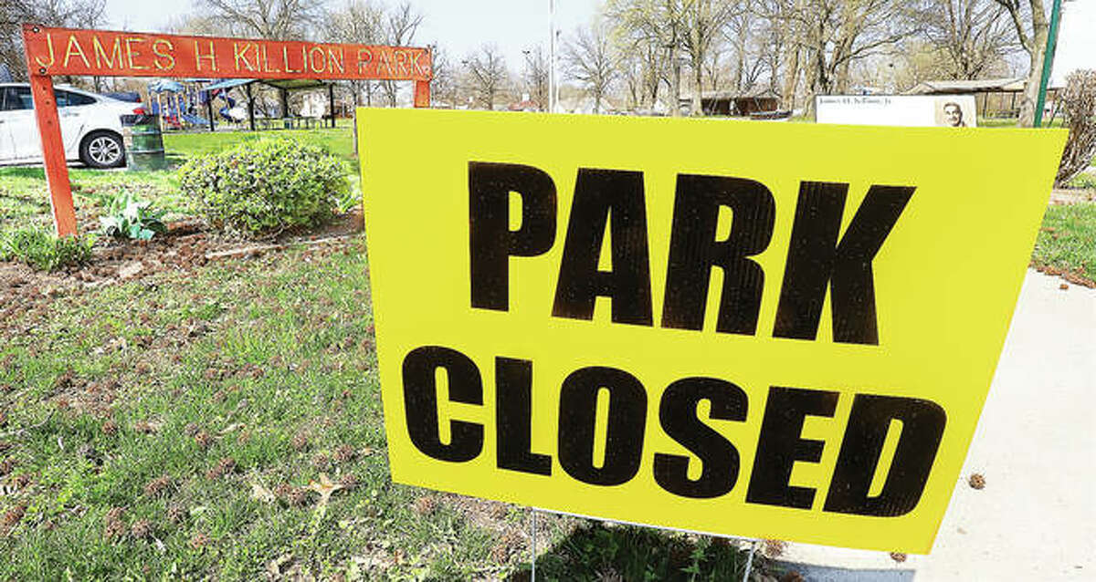 The James H. Killion Park at Salu in Alton has joined Gordon Moore Park and many other area parks in closing, in part to prevent the spread of COVID-19 virus on playground equipment and by youths gathering to play basketball.
