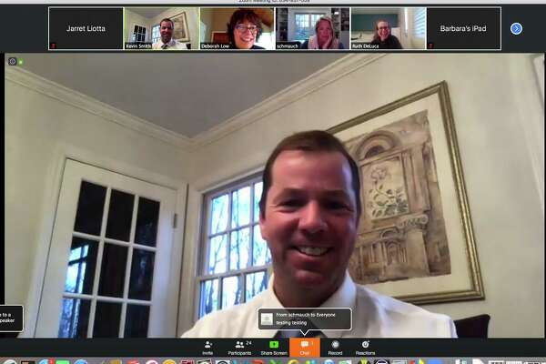 A screenshot of Thursday night's Board of Education meeting shows Superintendent of Schools Kevin Smith with, from left, Smith, Chair Debbie Low, and board members Mandi Schmauch and Ruth DeLuca. March 26, 2020, wilton ct.
