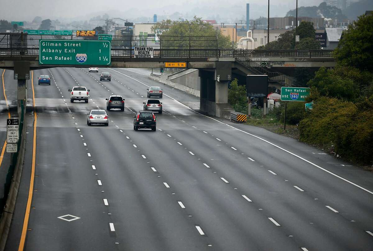 Traffic lanes are unusually light on the Eastshore Freeway in Berkeley, Calif. on Saturday, March 28, 2020. Air quality has improved significantly as fewer vehicles are on the streets and highways while shelter in place orders remain in effect during the coronavirus pandemic.