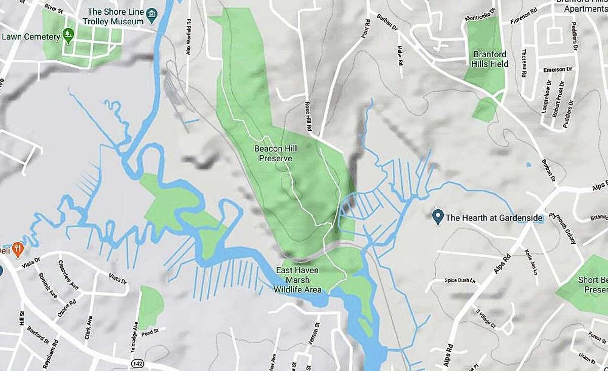 A Google screenshot of the hiking area in Branford, Conn.
