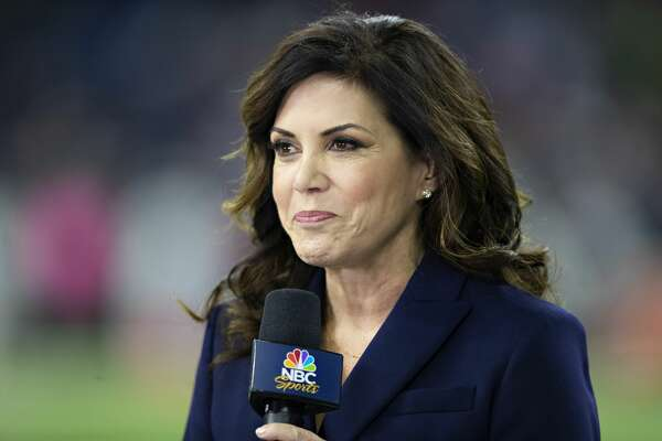 TV announcer Michele Tafoya on the field before a game between the Dallas Cowboys and the Houston Texans at NRG Stadium on October 7, 2018 in Houston, Texans. The Texans defeated the Cowboys in overtime 19-16. (Photo by Wesley Hitt/Getty Images)