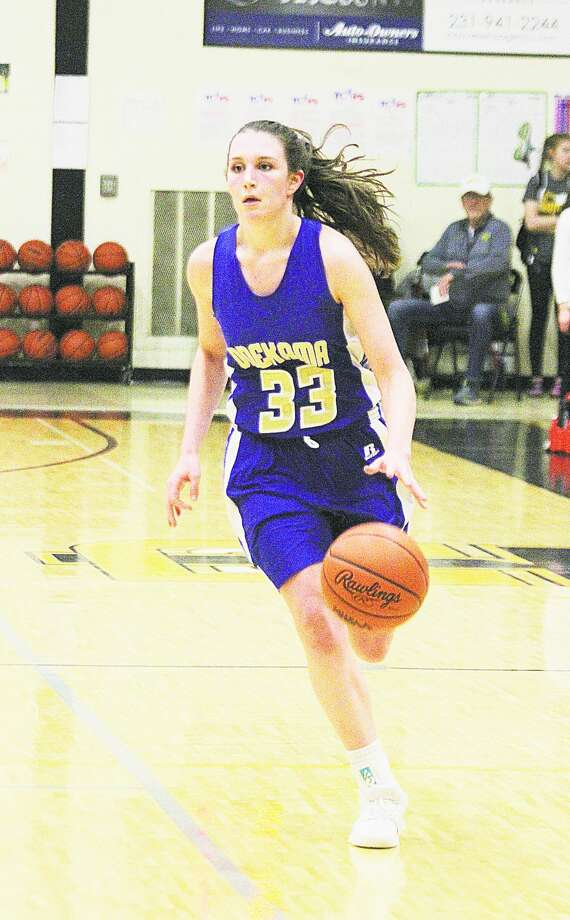 The Associated Press named Onekama senior Colleen McCarthy Division 4 All-State honorable mention for her efforts on the hardwood this season. Photo: News Advocate File Photo