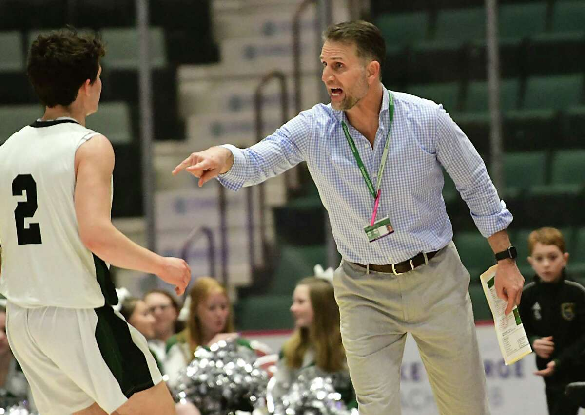 Shenendehowa head coach Tony Dzikas communicates to a player during a Class AA semifinal game against Niskayuna at the Cool Insuring Arena on Tuesday, March 3, 2020 in Glens Falls, N.Y. (Lori Van Buren/Times Union)