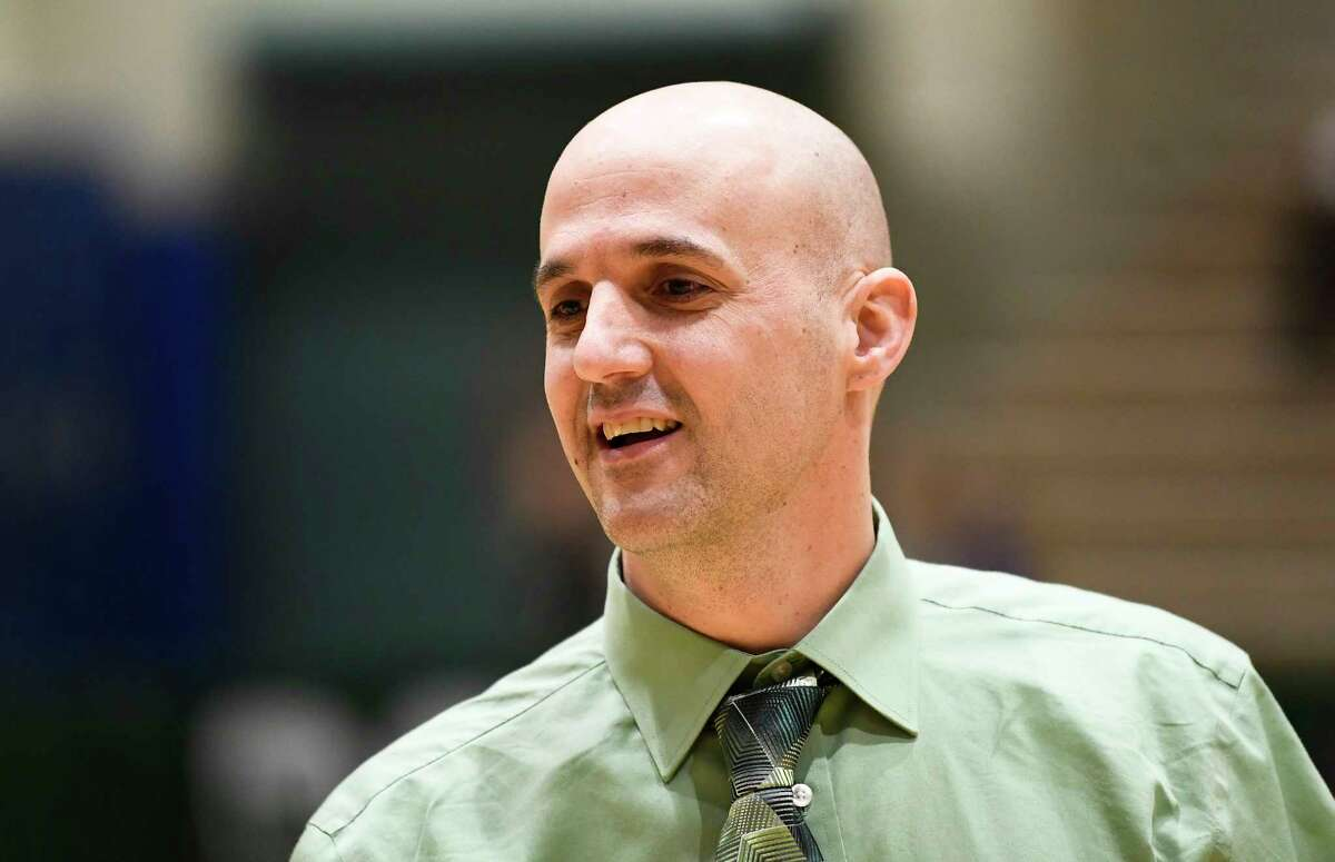 Shenendehowa's head coach Joseph Murphy during a girls' Section II Class AA high school semifinal basketball game against Albany Thursday, March 5, 2020 in Troy, N.Y. (Hans Pennink / Special to the Times Union) ORG XMIT: 030620_hsbb_girls2_HP101