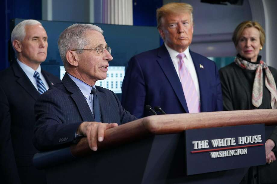 Director of the National Institute of Allergy and Infectious Diseases Anthony Fauci, with (L-R) US Vice President Mike Pence, President Donald Trump and Response coordinator for White House Coronavirus Task Force Deborah Birx, speaks during the daily briefing on the novel coronavirus, COVID-19, in the Brady Briefing Room at the White House on April 1, 2020, in Washington, DC. (Photo by MANDEL NGAN / AFP) (Photo by MANDEL NGAN/AFP via Getty Images) Photo: Mandel Ngan / Agence France Presse
