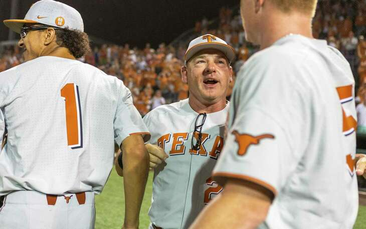 "Texas baseball coach David Pierce, celebrating a 2018 win over Indiana at Disch-Falk Field in Austin, hails the NCAA vote for eligibility relief as ""victory."""
