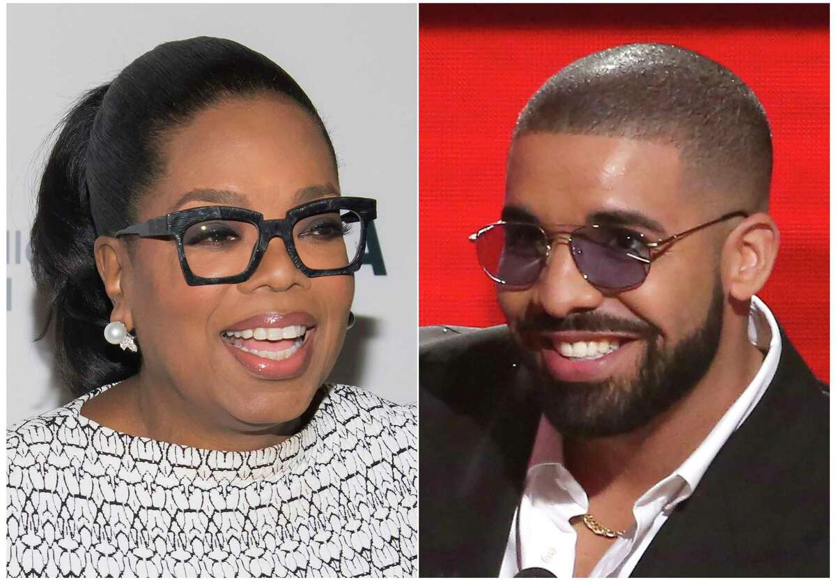 """This combination photo shows Oprah Winfrey at The Museum of Modern Art's David Rockefeller Award Luncheon honoring Oprah Winfrey in New York on March 6, 2018, left, and Drake accepting the award for favorite album rap/hip-hop for """"Views"""" at the American Music Awards in Los Angeles on Nov. 20, 2016. Lil Yachty, DaBaby and Drake's new rap song a€œOprah's Bank Account"""" is one of Oprah's favorite things. When asked in an interview what she thought of the song, Winfrey exclaimed a€œI love it. I love it. I loveeeeee it! Yes, I love it!"""" (Photos by Charles Sykes, left, and Matt Sayles/Invision/AP)"""
