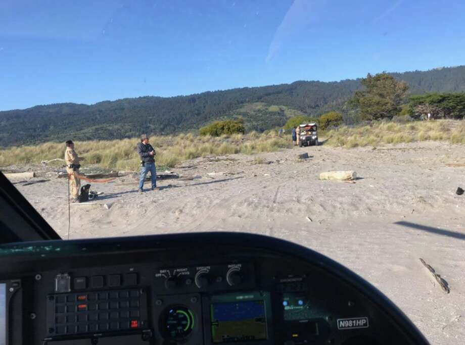 A 20-year-old man at Stinson Beach nearly drowned and was airlifted to John Muir Hospital on Wednesday. Photo: CHP Golden Gate Air Division