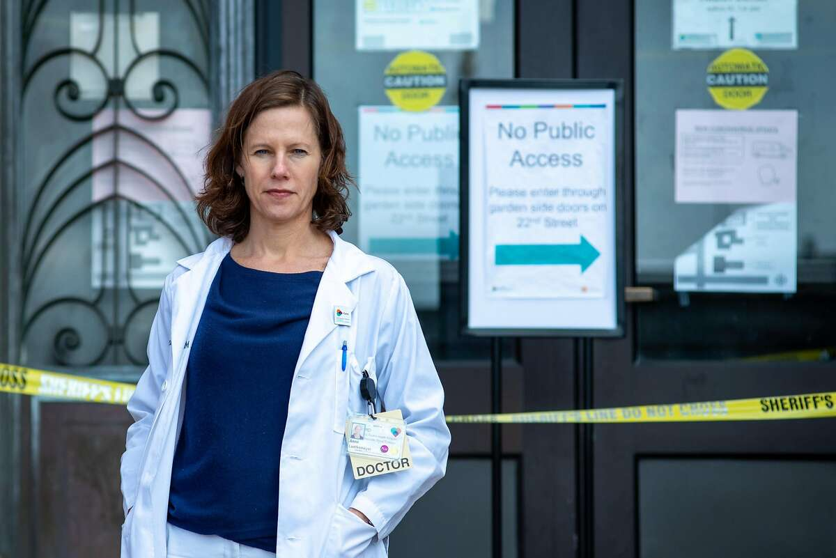 Dr. Annie Luetkemeyer, director of the local trial for remdesivir , the ebola drug being tested on coronavirus, poses for a portrait at San Francisco General Hospital on March 24, 2020 in San Francisco, Calif.