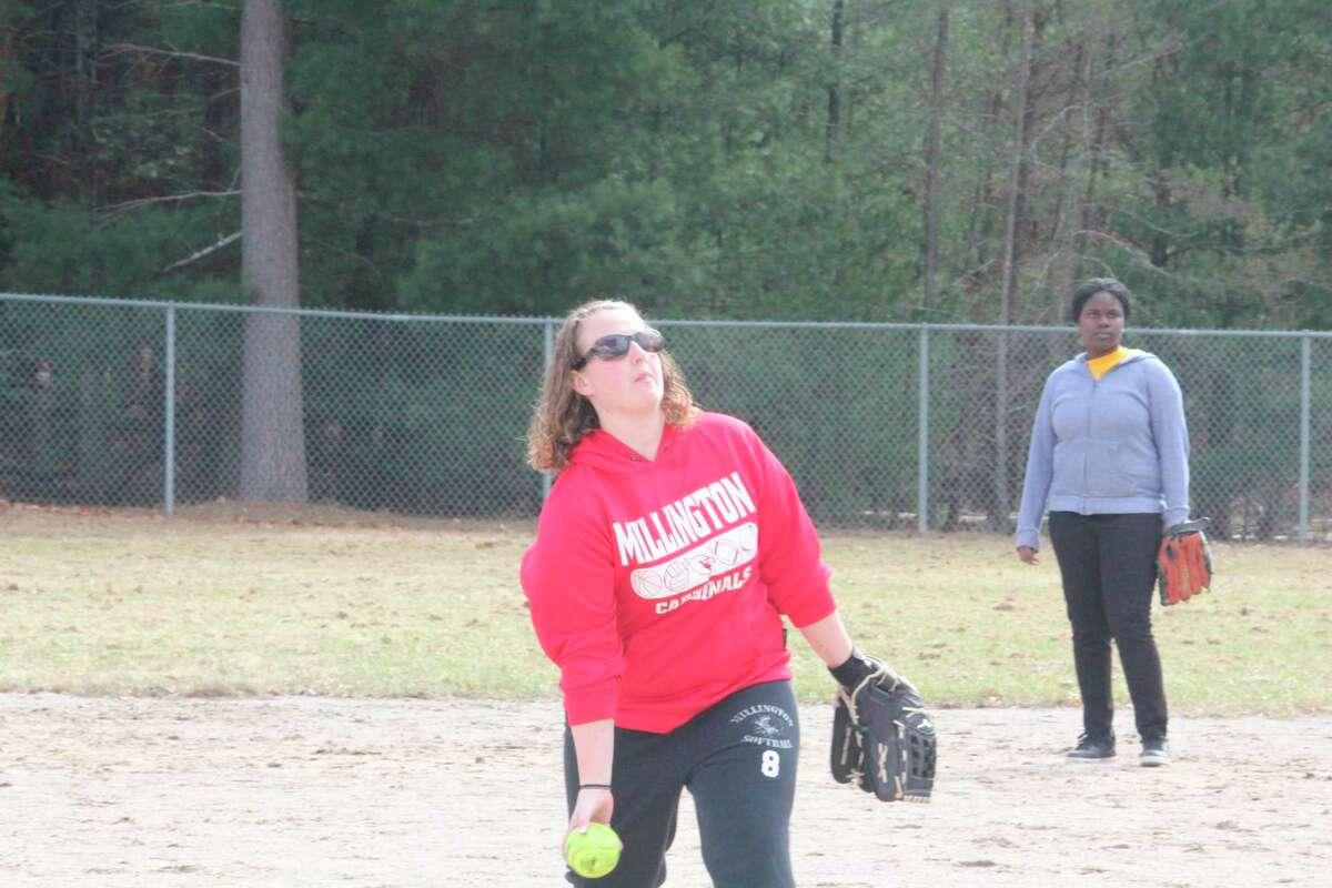 Baldwin softball coach Abby Braidwood throws a pitch during a practice last year. (Star file photo)