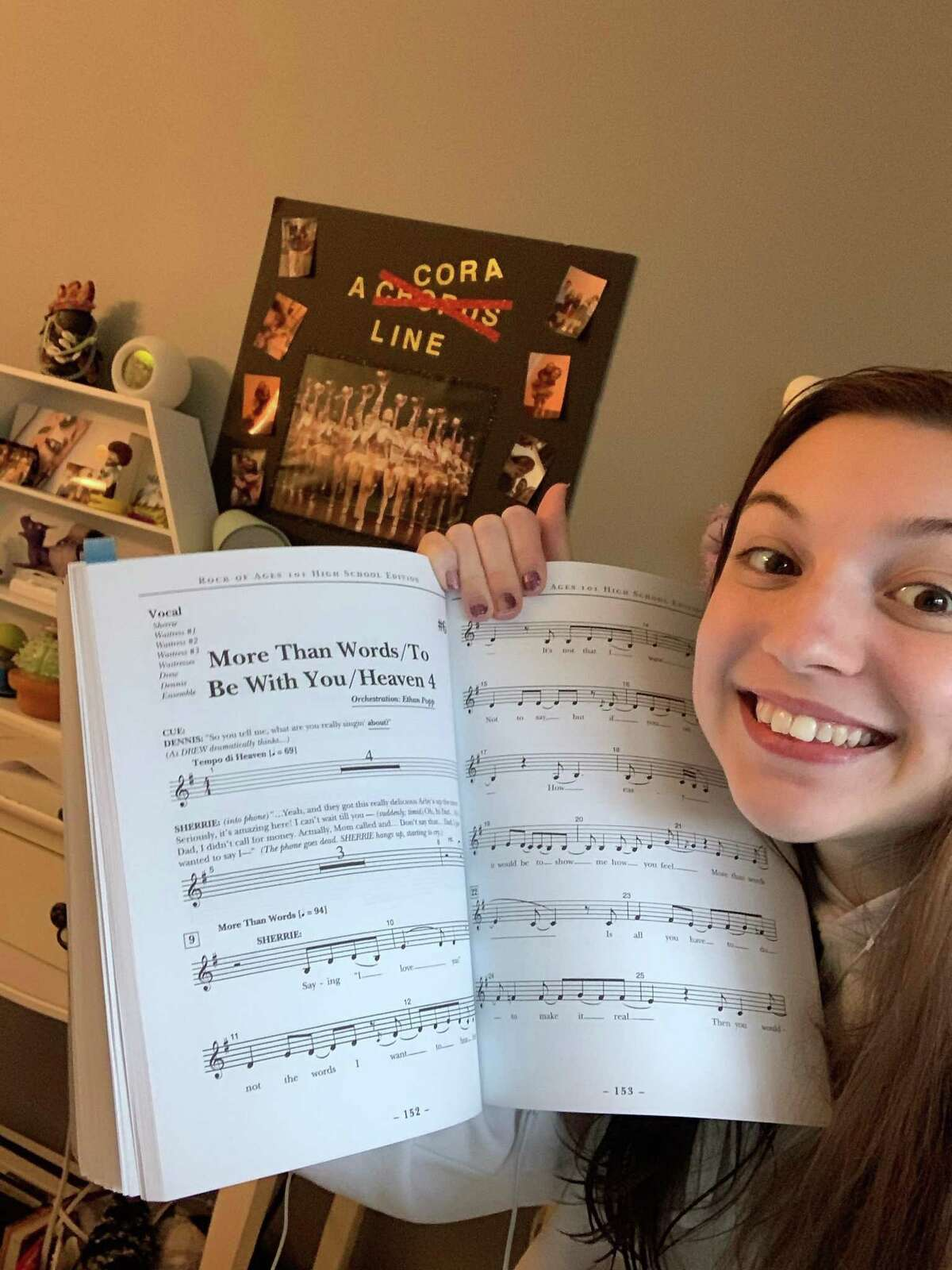 Shelton High senior drama club member Cora Welsh practices for Rock of Ages: High School Edition.