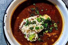 Cherry Block Craft Butcher and Kitchen at Bravery Chef Hall is one of three Houston restaurants tapped by H-E-B to create a variety of prepared meals for the supermarket's Meal Simple program. They will soon go into a number of Houston H-E-B stores. Shown: Cherry Block's gumbo will be one of the H-E-B offerings.