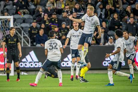 LOS ANGELES, CA - MARCH 8: Jakob Glesnes #5 of Philadelphia Union celebrates his goal on a free kick against Los Angeles FC during the MLS match at the Banc of California Stadium on March 8, 2020 in Los Angeles, California. The match ended in a 3-3 draw. (Photo by Shaun Clark/Getty Images)