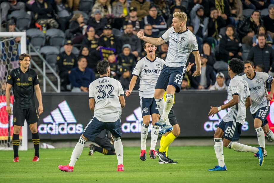 LOS ANGELES, CA - MARCH 8: Jakob Glesnes #5 of Philadelphia Union celebrates his goal on a free kick against Los Angeles FC during the MLS match at the Banc of California Stadium on March 8, 2020 in Los Angeles, California. The match ended in a 3-3 draw. (Photo by Shaun Clark/Getty Images) Photo: Shaun Clark/Getty Images / 2020 Shaun Clark