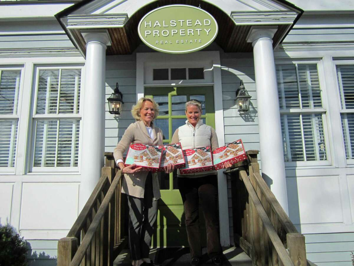 Realtor Susan Valk of the Halstead Property Real Estate firm, and New Canaan Chamber of Commerce Director Tucker Murphy announce that gingerbread house kids for young builders will be available at Halstead in New Canaan, during recent preparations for one of the town's past Holiday Strolls. Halstead Property is consolidating their 6 South Avenue., satellite office in New Canaan, and their main office at 183 Elm Street, into one location at 183 Elm Street, effective immediately.
