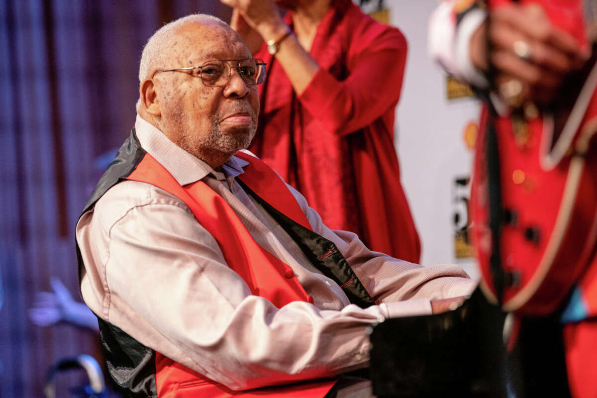 Ellis Marsalis Jr. performs at the New Orleans Jazz & Heritage Festival press conference at George and Joyce Wein Jazz & Heritage Center on January 15, 2019 in New Orleans, Louisiana.