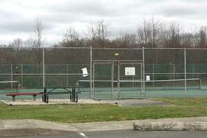 The tennis courts were empty at the Redding Community Center, Tuesday, March 31, 2020, in Redding, Conn.