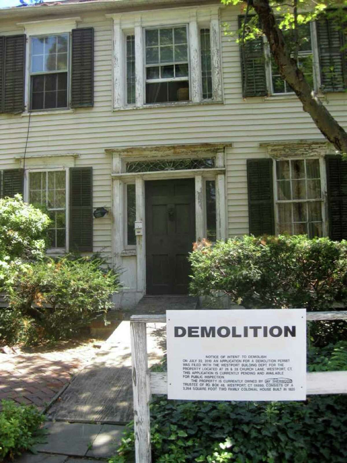 An application has been filed to demolish the approximately 200-year-old Colonial structure at 26-28 Church Lane in downtown Westport.