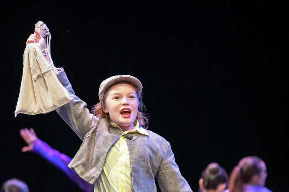 """Pearland resident Olivia Kirtley as Jack, was among a dozen YAS students whose performance of """"Into the Woods Jr."""" at the annual Musical Theatre Competitions of America festival in Los Angeles snared a first-place award in their division and a sweepstakes award for the overall high-score average across all ensemble entries."""