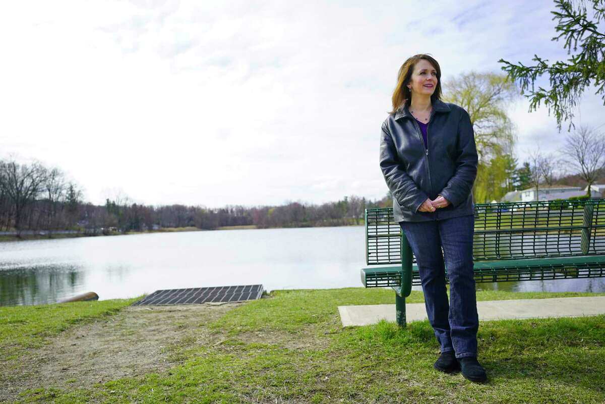 East Greenbush Councilwoman Tina Tierney at Hampton Manor Lake on Thursday, April 2, 2020, in East Greenbush, N.Y. The town has drafted a nature preservation plan to protect open spaces and natural areas. (Paul Buckowski/Times Union)