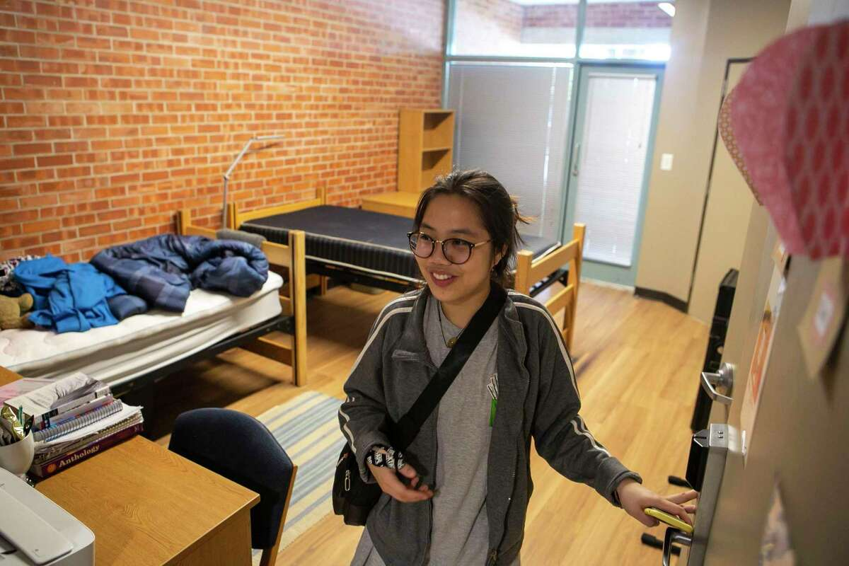 Mai-Vo, 19, about to move out of her dorm room at Trinity University on March 12. The university said it was suspending a requirement that applicants for admission submit SAT or ACT scores for three years, to ease uncertainty over when the tests next would be administered and to get data on how well they predict student success.