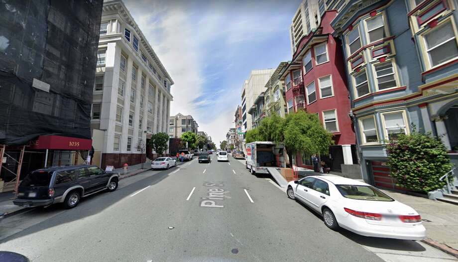 A man suffered life-threatening injuries early Wednesday night in an apparent shooting in San Francisco's downtown district, police said, on the 1000 block of Pine Street. Photo: Google Street View