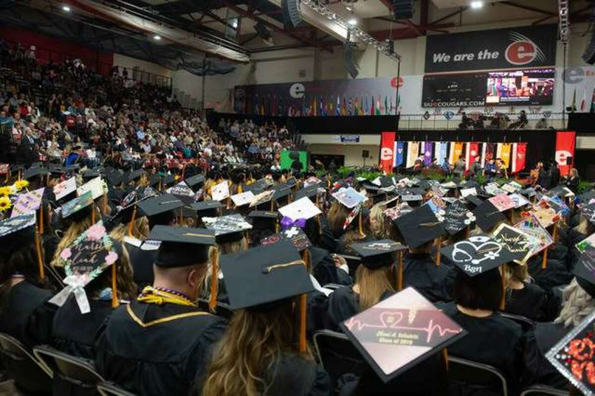Students attend last year's nursing commencement at SIUE on May 10, 2019. This year's commencement ceremonies have been postponed due to the coronavirus outbreak and the school has sent out a survey to spring graduates, asking whether they would rather have a virtual ceremony in August or come back for the fall semester commencement in December.
