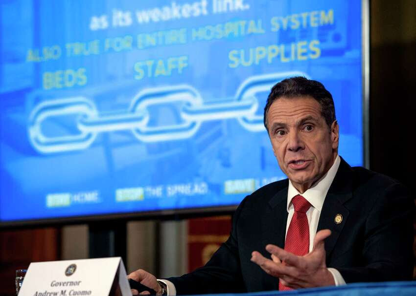 Gov. Andrew Cuomo provides a coronavirus update during a press conference on Thursday, April 2, 2020, in the Red Room at the Capitol in Albany, N.Y. (Office of the Governor)
