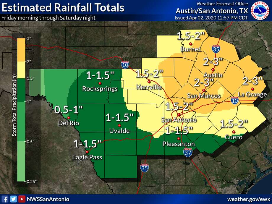 The San Antonio area could face severe thunderstorms on Friday, according to the National Weather Service. Photo: National Weather Service