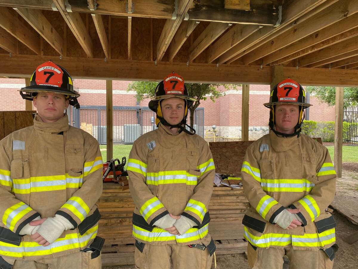 Left to right: Caleb Carriker, Brandon Testut and Colton Russell, three of the Spring Fire Department's new recruits.