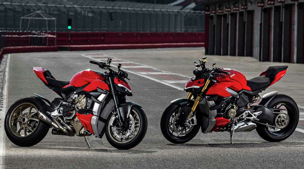 Ducati aficionados have been awaiting the arrival of the Streetfighter V4, left, and the Streetfighter V4 S. An optional performance exhaust system not only boosts the stock output from 208 horsepower to 220, it shaves 13 pounds.