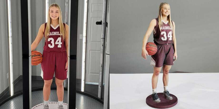 "Envision 3D Printing in Spring makes ""3-D selfies"" of anyone who wants a miniature statuette of themselves. Here is a finished figure, of local high school basketball player Sophie Christiansen, who recently received her completed 3-D selfie Photo: Courtesy Photo"