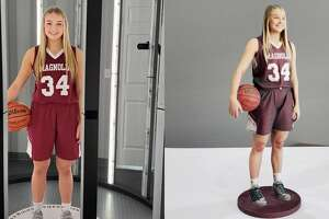 """Envision 3D Printing in Spring makes """"3-D selfies"""" of anyone who wants a miniature statuette of themselves. Here is a finished figure, of local high school basketball player Sophie Christiansen, who recently received her completed 3-D selfie"""