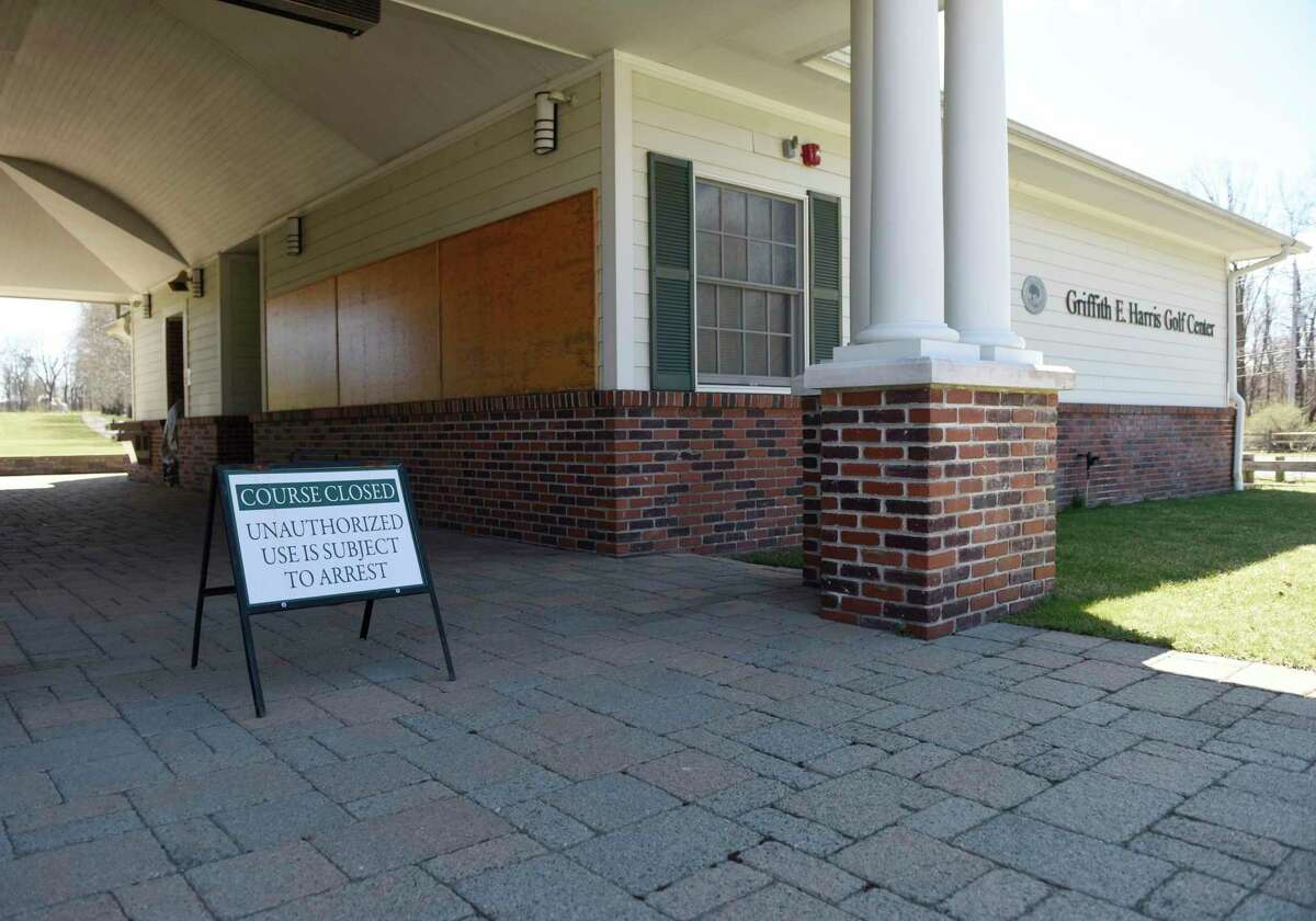 A closed sign is posted outside the Griffith E. Harris Golf Course in Greenwich, Conn. Thursday, April 2, 2020. The public course, along with many other private courses in town, was closed for weeks due to coronavirus concerns. It reopened in May.