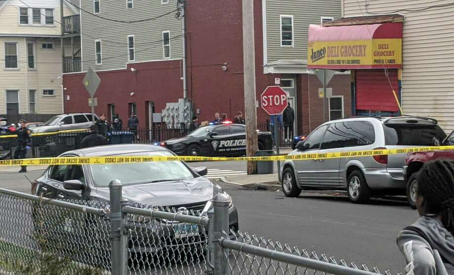 Bridgeport, Conn., police investigate a shooting on Stratford Avenue on Thursday, April 2, 2020. Photo: Contributed Photo