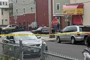 Bridgeport, Conn., police investigate a shooting on Stratford Avenue on Thursday, April 2, 2020.