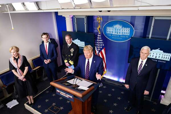 US President Donald Trump speaks, flanked by (From L) Response coordinator for White House Coronavirus Task Force Deborah Birx, Senior Advisor to the President Jared Kushner, Rear Adm. John Polowczyk, US Vice President Mike Pence, during the daily briefing on the novel coronavirus, COVID-19, in the Brady Briefing Room at the White House on April 2, 2020, in Washington, DC. (Photo by MANDEL NGAN / AFP) (Photo by MANDEL NGAN/AFP via Getty Images)