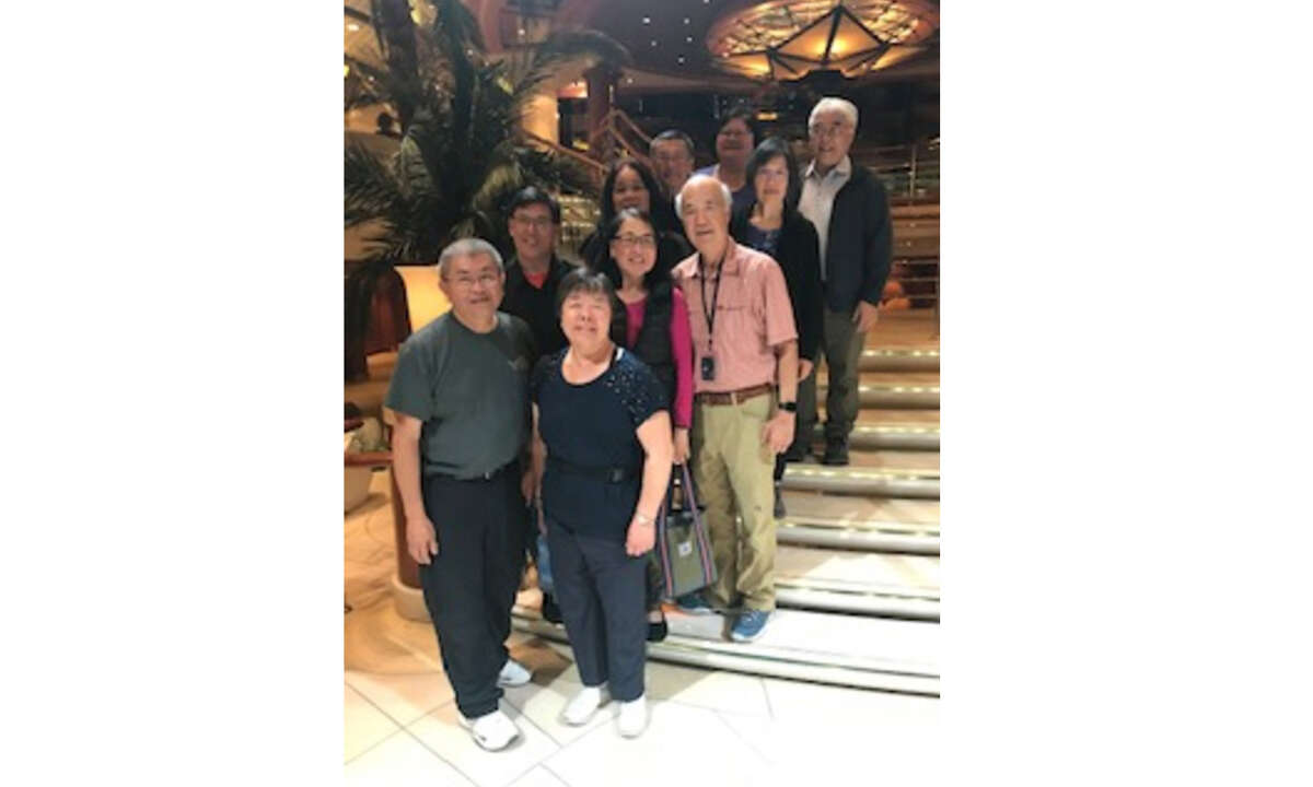 Wilson and Toyling Maa with friends on the Coral Princess