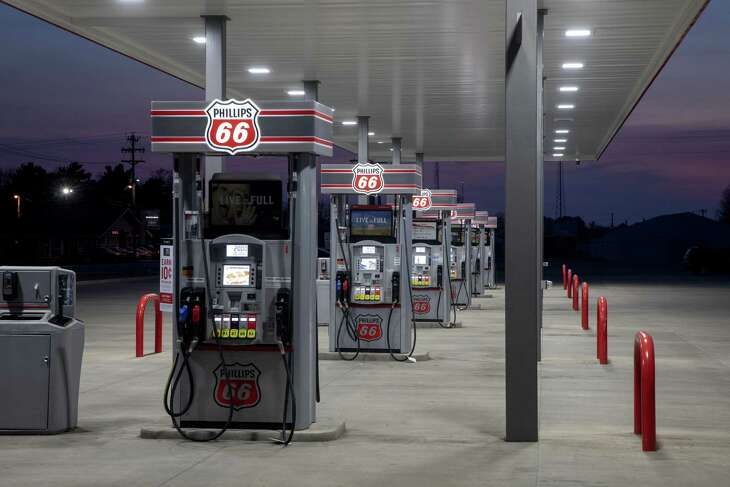 Fuel pumps stand empty at a Phillips 66 gas station in Princeton, Illinois, U.S., on Wednesday, April 1, 2020. Even with the combination of some Canadian pullback, stripper wells going offline and announced shale cuts, that may not be enough to stopoil prices from going lower as demand craters and supply fromOPECmeans major increases in stockpiles in the second quarter. Photographer: Daniel Acker/Bloomberg