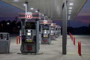 Fuel pumps stand empty at a Phillips 66 gas station in Princeton, Illinois, U.S., on Wednesday, April 1, 2020. Even with the combination of some Canadian pullback, stripper wells going offline and announced shale cuts, that may not be enough to stop oil prices from going lower as demand craters and supply from OPEC means major increases in stockpiles in the second quarter. Photographer: Daniel Acker/Bloomberg