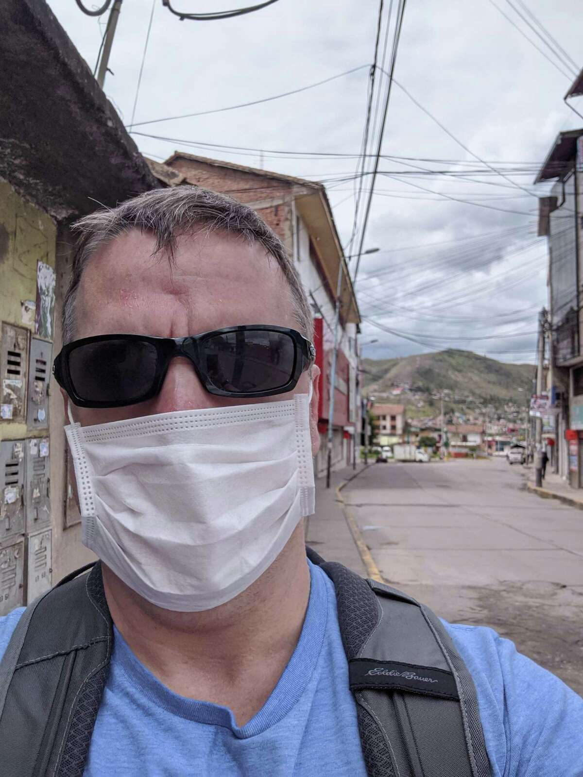 Carl LePack, 46, of Cromwell, takes a selfie in Peru, where he was stranded for more than a week due to the COVID-19 pandemic. He arrived home last week.