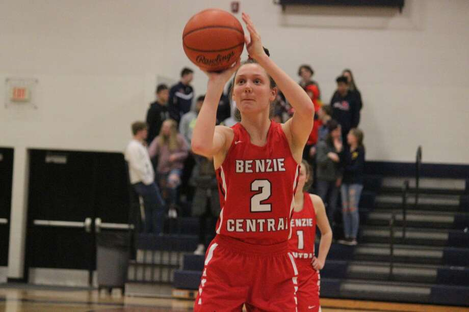 Ellen Bretzke takes a trip to the free throw line during a district game at Cadillac. Photo: Robert Myers