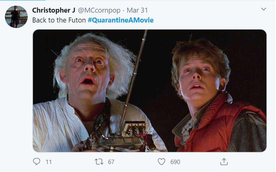 People take to Twitter to share their versions of renaming classic films with quarantine a movie tweets fitting for the current season. Photo: Screenshot Twitter